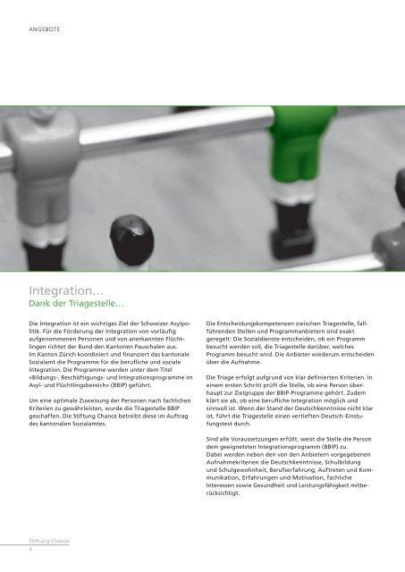 Integration konkret – eine Chance geben - Stiftung Chance