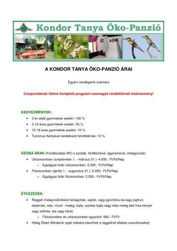 a kondor tanya öko-panzió árai - Kondor Tanya Öko-Panzió - ECHT.hu