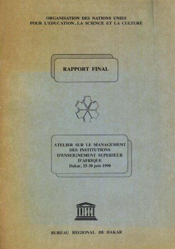 Atelier sur le management des institutions d ... - unesdoc - Unesco