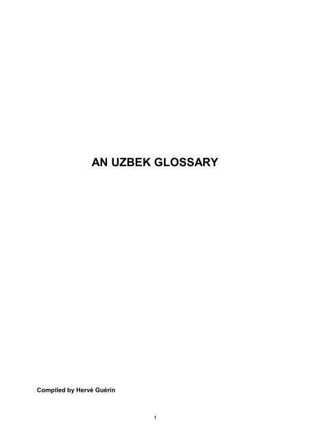 An Uzbek Glossary Turuz Info