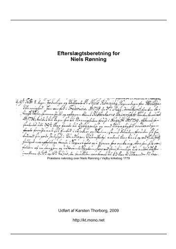 Efterslægtsberetning for Niels Rønning - Thorborg - Liisberg ...