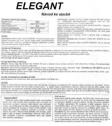 ELEGANT – návod ke stavbě - PP Model Hobby
