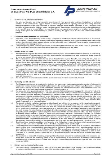 Download the sales terms and conditions of the - Bruno Peter AG