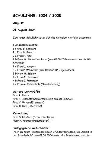 SCHULJAHR: 2004 / 2005 - Grundschule Steimbke