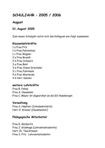 SCHULJAHR : 2005 / 2006 - Grundschule Steimbke