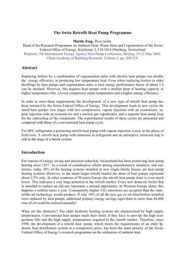The Swiss Retrofit Heat Pump Programme Abstract ... - of Martin Zogg