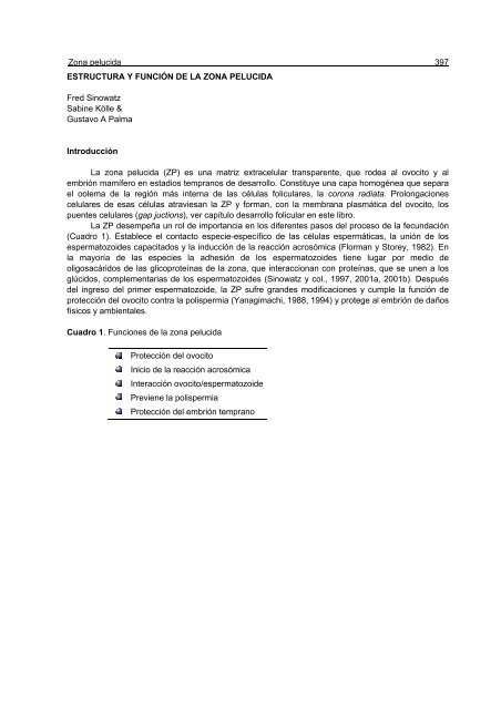 Estructura Y Función De La Zona Pelucida Gustavo A Palma