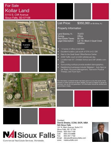 Kollar Land Spec Sheet - Sioux Falls Commercial Real Estate