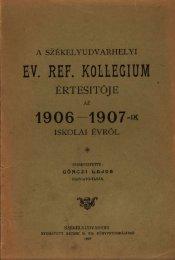 A székelyudvarhelyi ev.ref. kollégium értesítője az 1906 - EPA