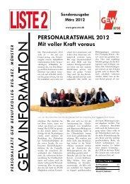 Personalratswahl 2012 - Mit voller Kraft voraus - GEW ...