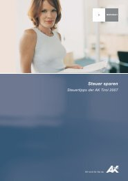 Steuer sparen 2007 (pdf 1,4 mb) - AK Tirol - Arbeiterkammer