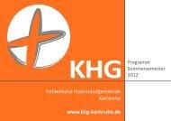 Programm KHG SS 2012_.indd - Katholische Hochschulgemeinde