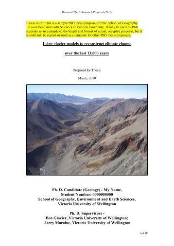 Sample PhD Proposal - Victoria University of Wellington