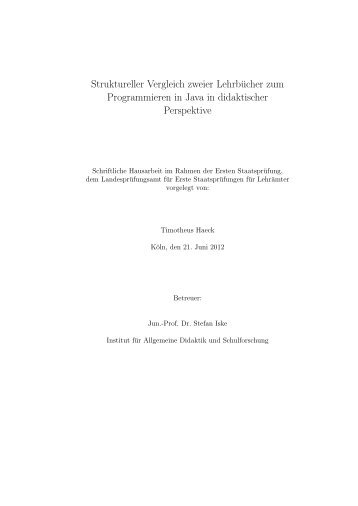 Struktureller Vergleich zweier Lehrbücher zum Programmieren in Java