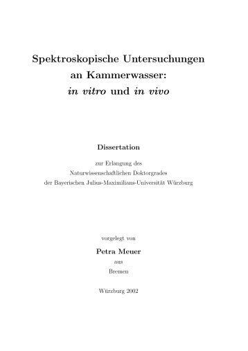 Spektroskopische Untersuchungen an Kammerwasser: in vitro und ...
