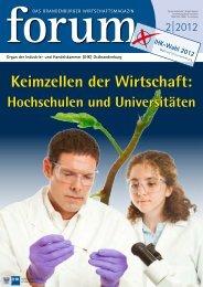 forum 02|2012 - Wirtschaftsmagazin Ostbrandenburg