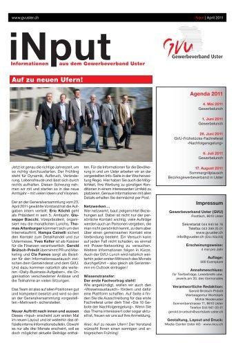iNPUT April 2011 - Gewerbeverband Uster