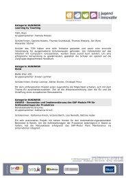 Die FinalistInnen und ihre Projekte (pdf, 150 KB