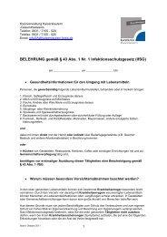 BELEHRUNG gemäß § 43 Abs. 1 Nr. 1 Infektionsschutzgesetz (IfSG)