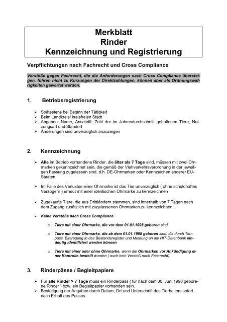 Merkblatt Rind - Landkreis Kaiserslautern