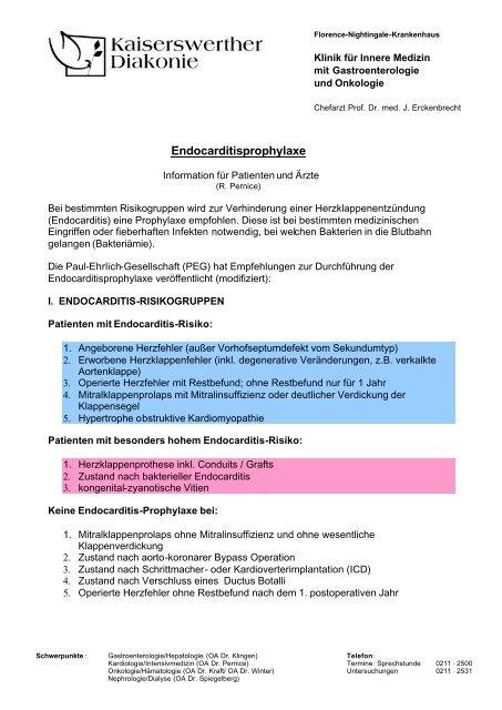 Merkblatt Endocarditisprophylaxe 1 - bei der Kaiserswerther Diakonie
