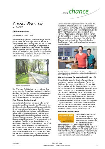 Chance Bulletin Nr. 1_2011 - Stiftung Chance