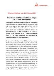 Medienmitteilung vom 24. Oktober 2005 Liquidation ... - BVZ Holding