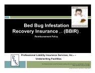 Bed Bug Infestation Recovery Insurance TM - PLIS Inc. Wholesale
