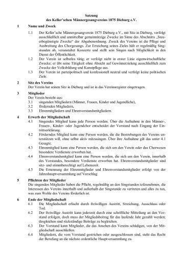 Satzung des Keller™schen MGV 1875 Dieburg e.V. - KMGV Dieburg