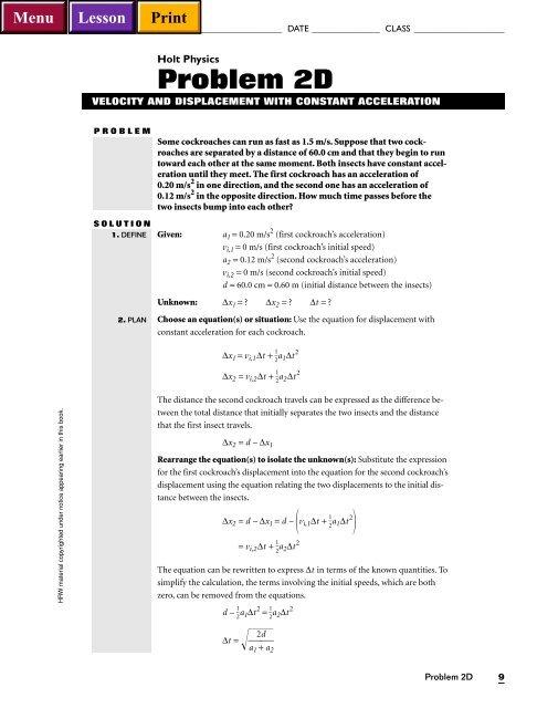 Holt Physics Problem 2D Hays High School