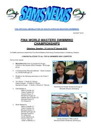 fina world masters swimming championships - South African ...