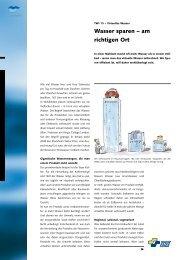 Wasser sparen – am richtigen Ort - SVGW