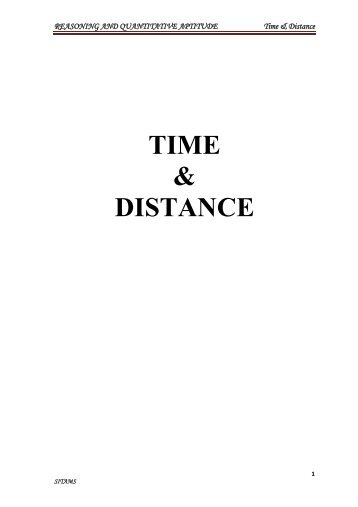 TIME & DISTANCE