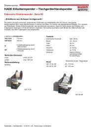 HADE Etikettenspender - Bluhm Systeme Gmbh