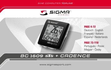 Bedienungsanleitung Sigma BC 1609 STS + Cadence - Kinderfahrrad