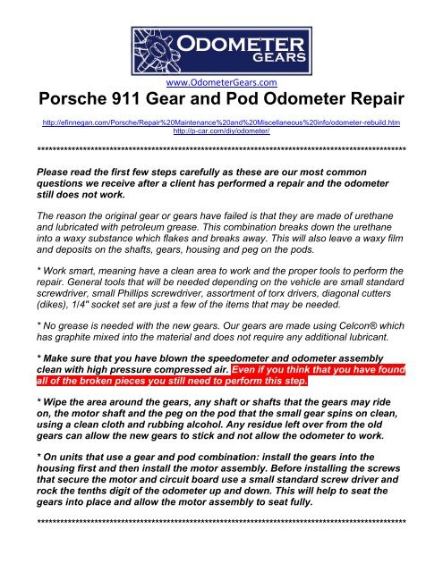 Porsche 911 Gear and Pod Odometer Repair - Odo gears
