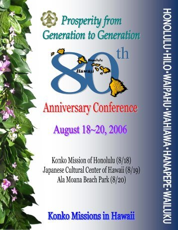 80th Anniversary Conference Booklet - Konko Missions in Hawaii