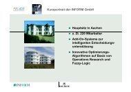 Kurzportrait der INFORM GmbH Hauptsitz in Aachen z. Zt. 220 ...