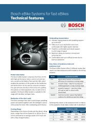 Bosch eBike Systems for fast eBikes Technical features