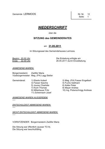 Protokoll der 12. Sitzung (81 KB) - .PDF - Gemeinde Lermoos