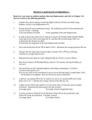 Printables Kinematics Worksheet kinematic equations worksheet ii intrepidpath kinematics education worksheets