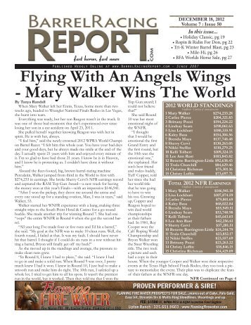mary Walker Wins The World - Barrel Racing Report