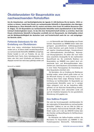 Erhebung und Auswertung von Ökobilanzdaten für Baustoffe aus