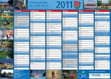 Jahreskalender der Stadt Büren