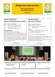 Mitgliederinformation - Bio Austria