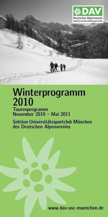 Winterprogramm 2010 - Sektion USC München des DAV