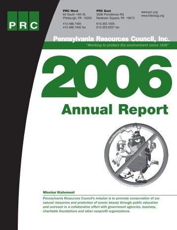 2006 PRC Annual Report (pdf) - Pennsylvania Resources Council