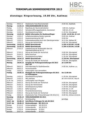 HBC-Terminplan - Hochschule Biberach