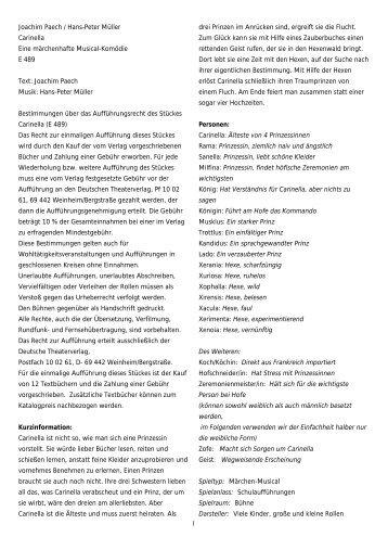 1 Joachim Paech / Hans-Peter Müller Carinella Eine märchenhafte ...