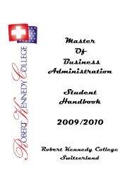 Master Of Business Administration Student Handbook 2009/2010